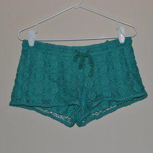Xhilaration Green Lace Sleep Shorts